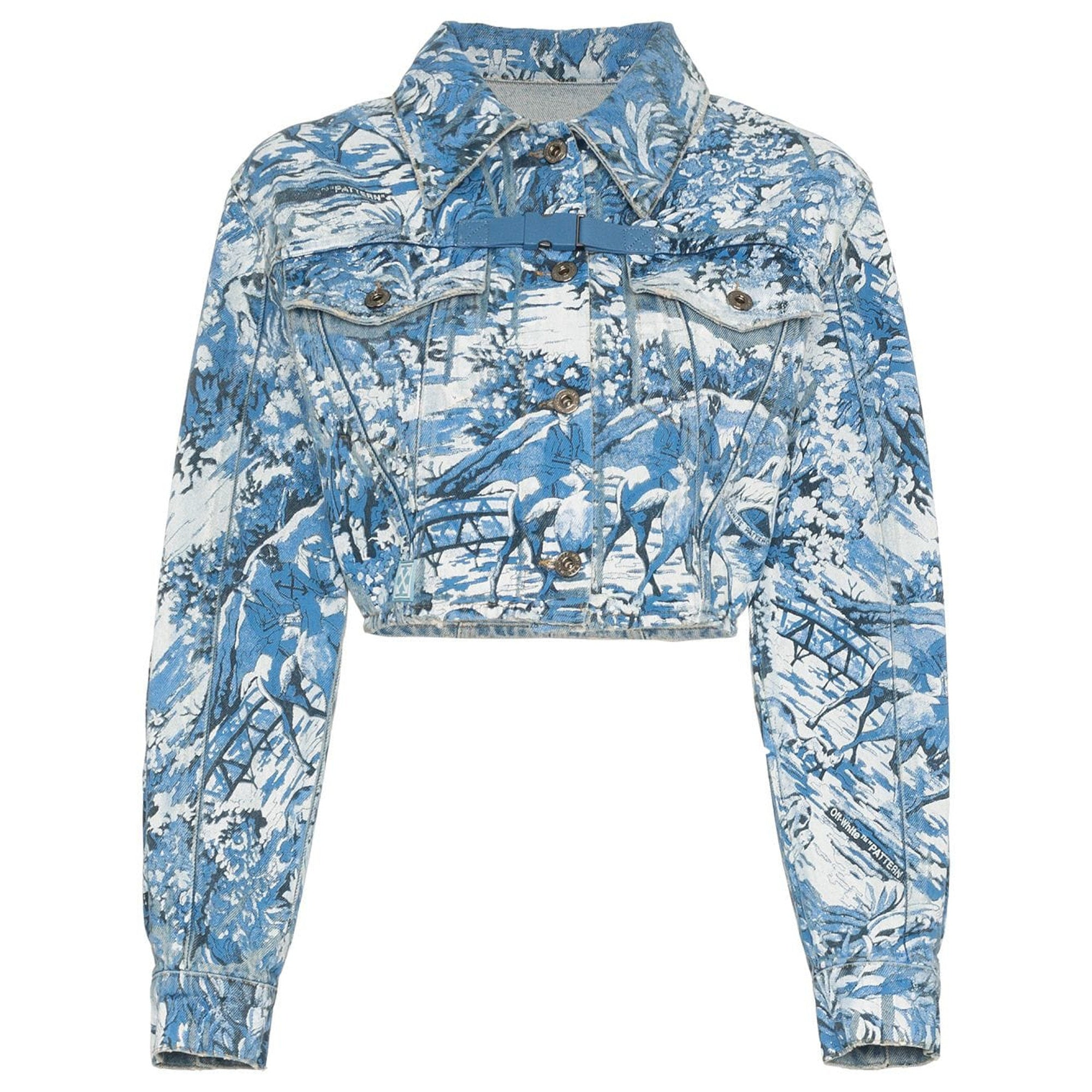 Off-White Tapestry Crop Denim Jacket Wash - Medium Blue