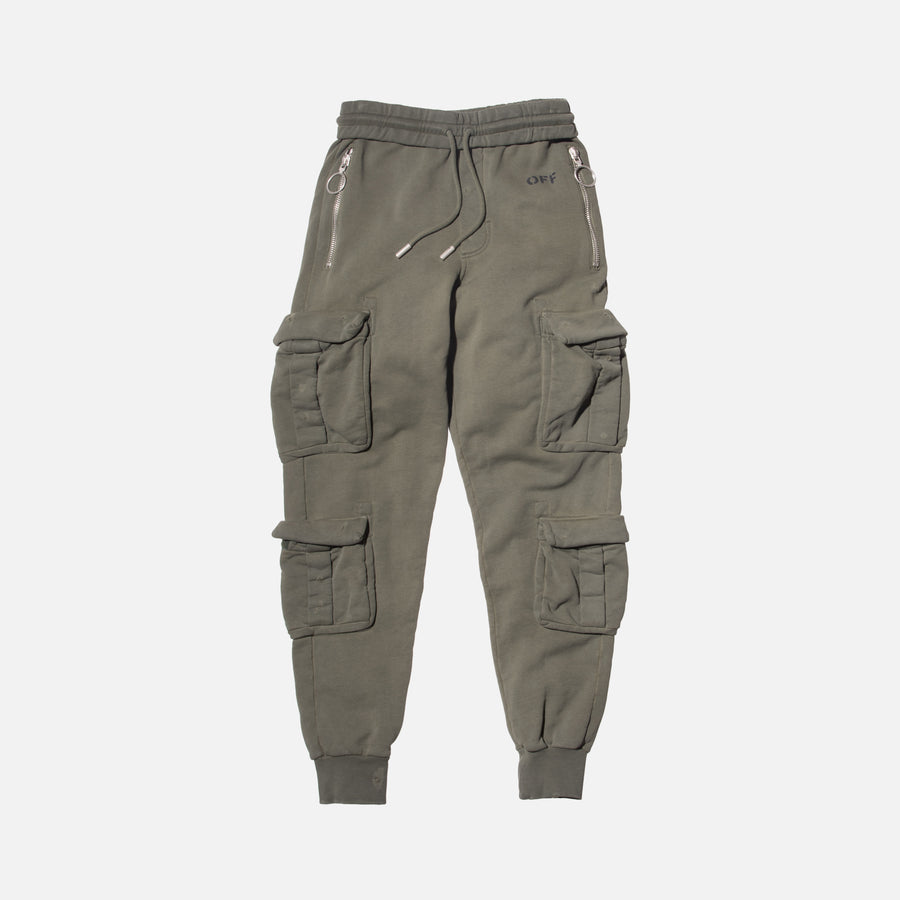 Off-White Washed Cargo Pant - Green