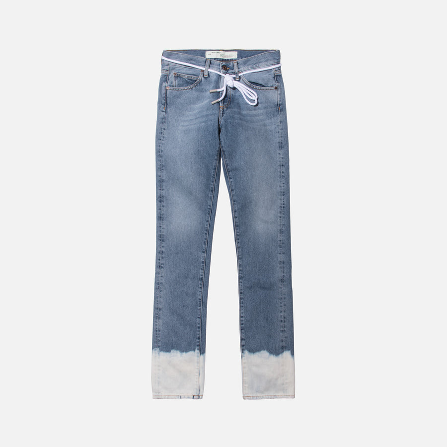 Off-White Diagonal Slim Denim - Bleach Vintage / Light Blue