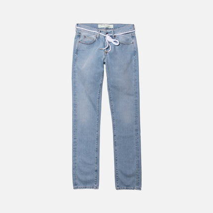Off-White Diagonal Spray Slim Denim - Light Blue