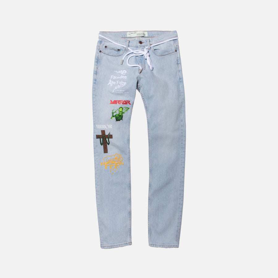 Off-White Mix Rock Skinny Denim - Light Blue