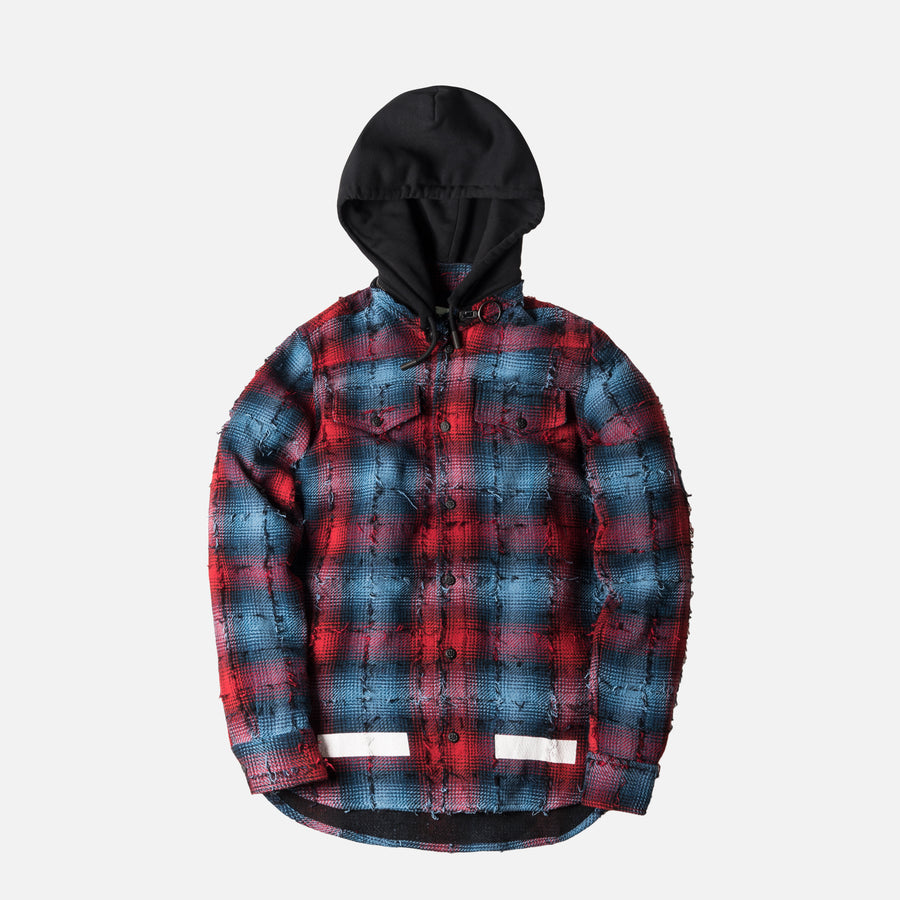 Off-White Diagonal All Over Flannel Hoodie - Red / Navy