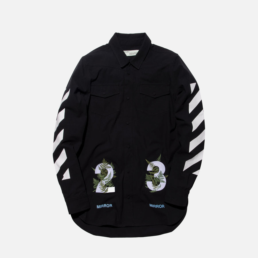 Off-White Diagonal Fern Button-Up - Black
