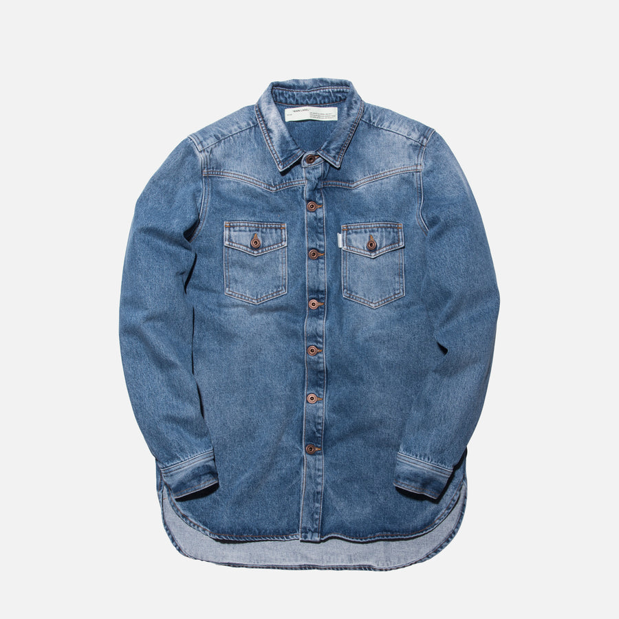 Off-White Diagonal Spray Denim Button-Up - Light Blue