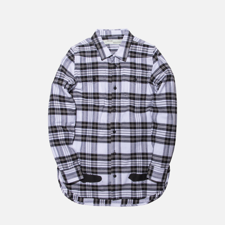 Off-White Diagonal Spray Button-Up - White
