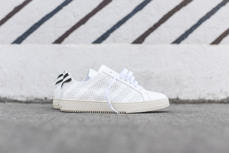 Off-White Perforated Striped Sneaker - White
