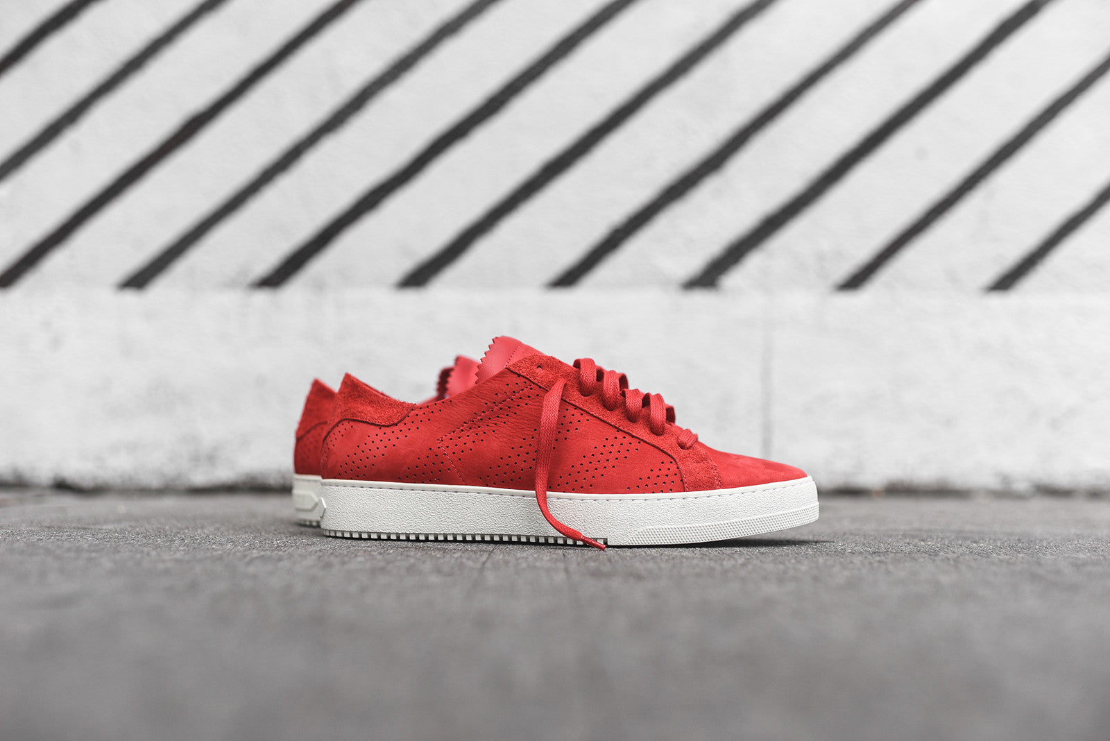 Off-White Perforated Striped Sneaker - Red