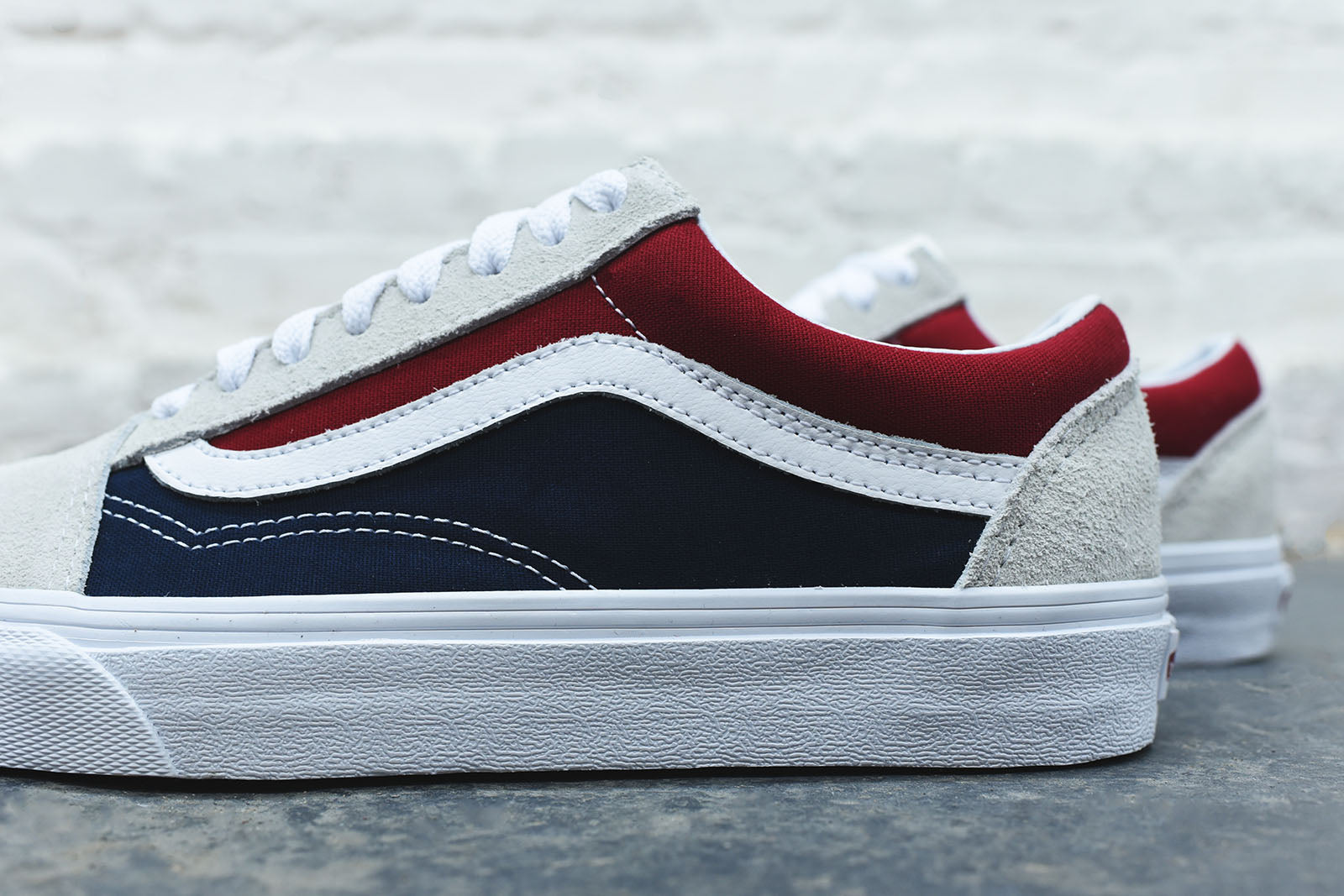 vans shoes old skool (retro block) white/red/dress blue