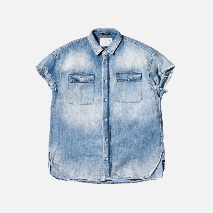 R13 Oversized Cut-Off Shirt - Denim