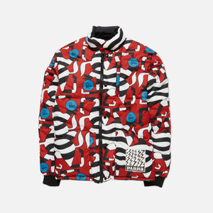 by Parra Nerveux Puffer Jacket Allover Print - Red Image 1