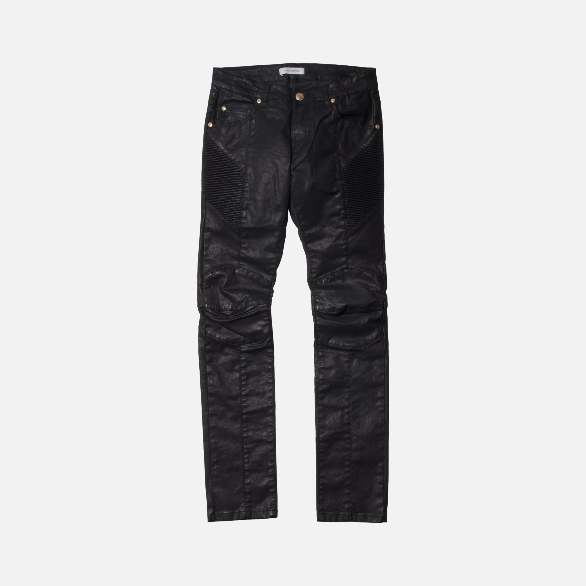 Pierre Balmain Coated Biker Denim - Black