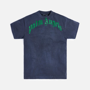 Palm Angels Vintage Wash Curved Logo Tee - Black / Green