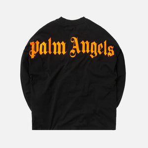 Palm Angels Logo Over Tee L/S - Black / Fluo Orange