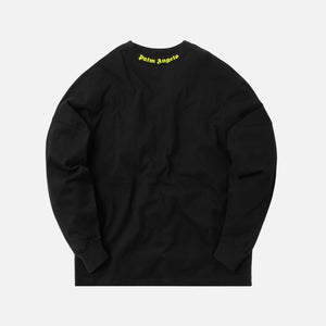 Palm Angels Logo Over Tee L/S - Black / Fluo Yellow