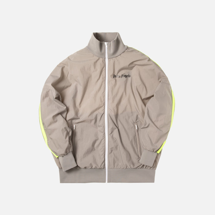 Palm Angels Loose Fit Track Jacket -  Light Grey / Fluo Yellow