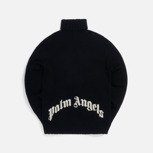 Palm Angels Rec Logo Turtle Neck - Black / White