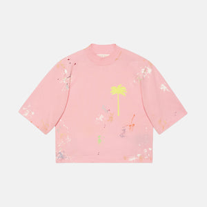 Palm Angels PXP Painted Cropped Tee - Almond Blossom