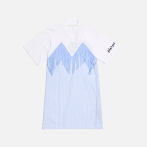 Palm Angels Fringed T-Shirt Dress - White / Light Blue