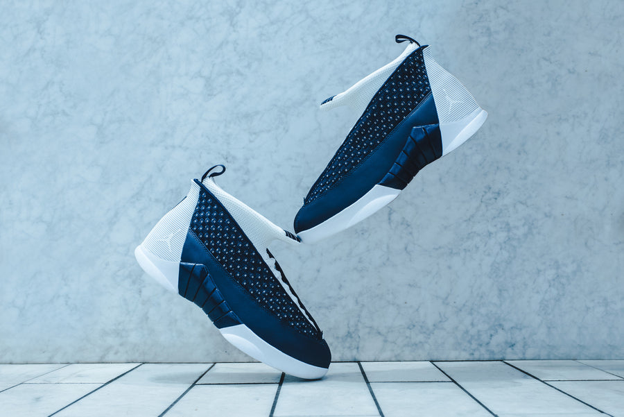 Nike Air Jordan 15 Retro - Obsidian / White / Metallic Silver