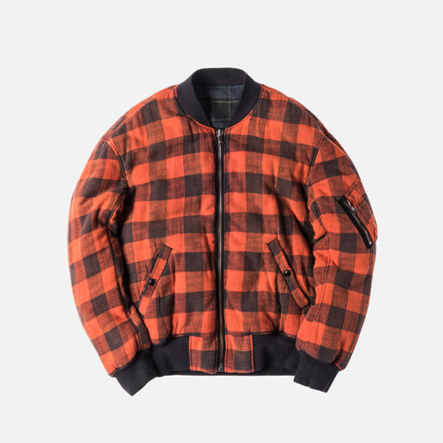 R13 Double Plaid Flight Jacket - Orange / Navy