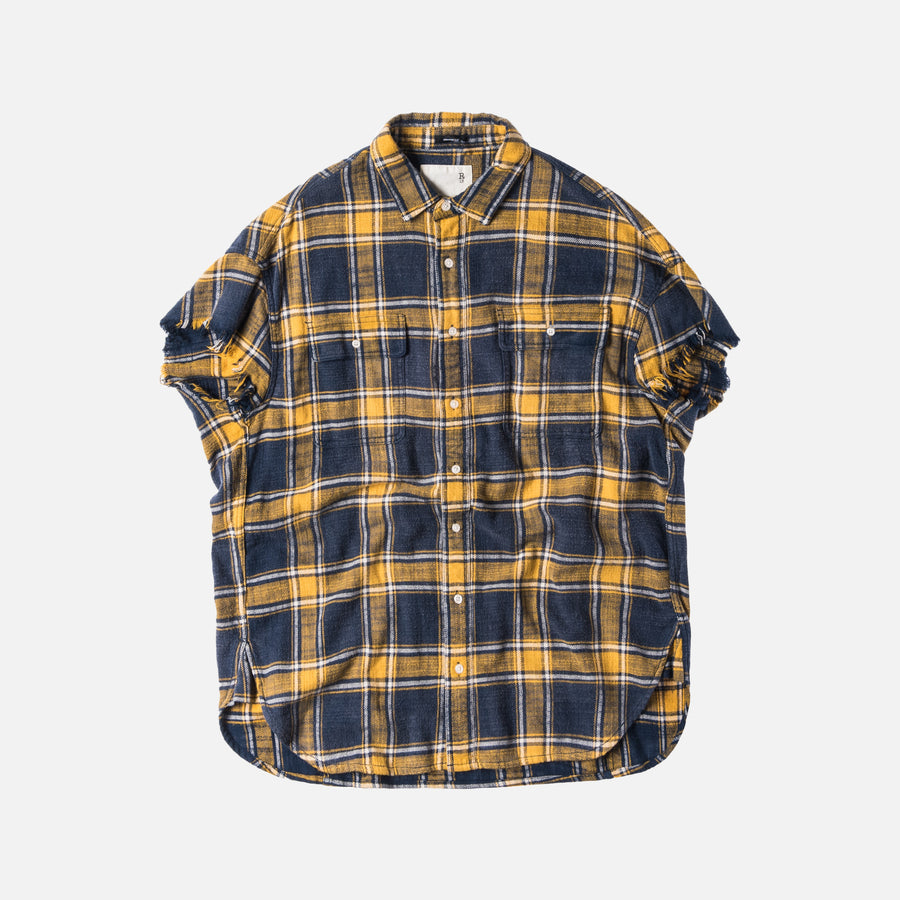 R13 Oversized Cut-Off Button-Up - Navy / Yelow