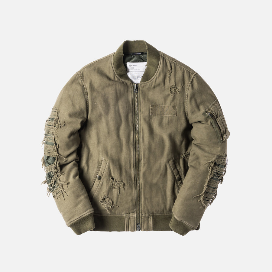 R13 Ripped Puffer Bomber - Olive