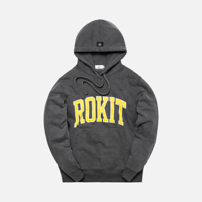 Rokit Pigment Dye Pullover Hoodie - Washed Black / Yellow