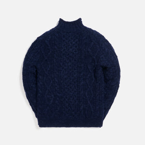 Polo Ralph Lauren Marled Flag Roll Neck Crewneck - Navy Melange