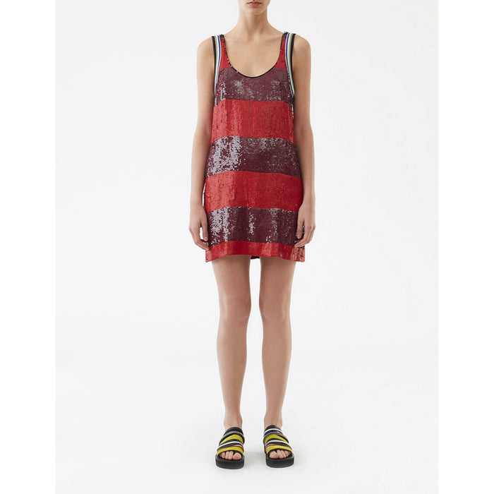3.1 Phillip Lim Striped Sequin Shift Dress - Poppy / Chocolate