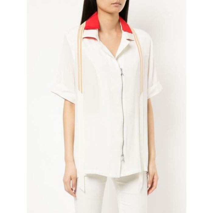 Area Dov Short Sleeve Zip Up Blouse - Ivory / Azure