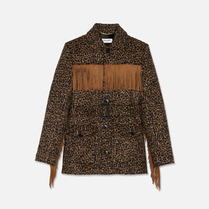 Saint Laurent Fringe Jacket - Leopard