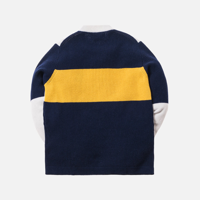 Stone Island Wool Embroidered Logo Sweater - Navy / Yellow