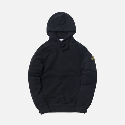 Stone Island Brushed Cotton Garment Dyed Hoodie - Black