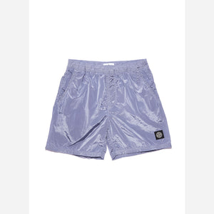 Stone Island Nylon Metal Short Length  Garment Dyed Logo Swim Shorts - Purple