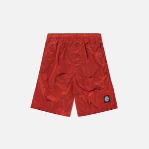 Stone Island Nylon Metal Mid Length Garment Dyed Logo Swim Short - Mattone