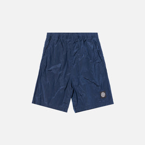 Stone Island Nylon Metal Mid Length Garment Dyed Logo Swim Short - Blue Marine
