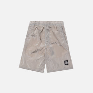 Stone Island Nylon Metal Mid Length Garment Dyed Logo Swim Short - Stucco