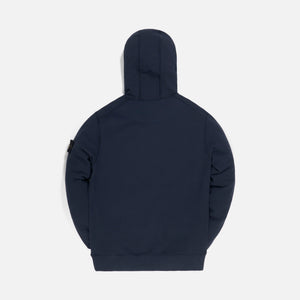 Stone Island Brushed Cotton Fleece Garment Dyed Hoodie Sweatshirt - Blue Marine