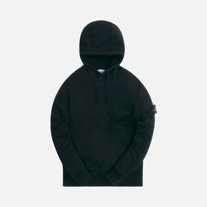 Stone Island Cotton Fleece Garment Dyed Hooded Sweatshirt - Black