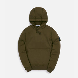 Stone Island Cotton Fleece Garment Dyed Hooded Sweatshirt - Olive