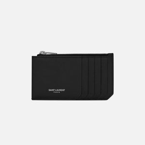 Saint Laurent Credit Card Holder w/ Zip - Black