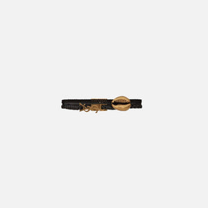 Saint Laurent Black Wrap Bracelet With Gold Shell