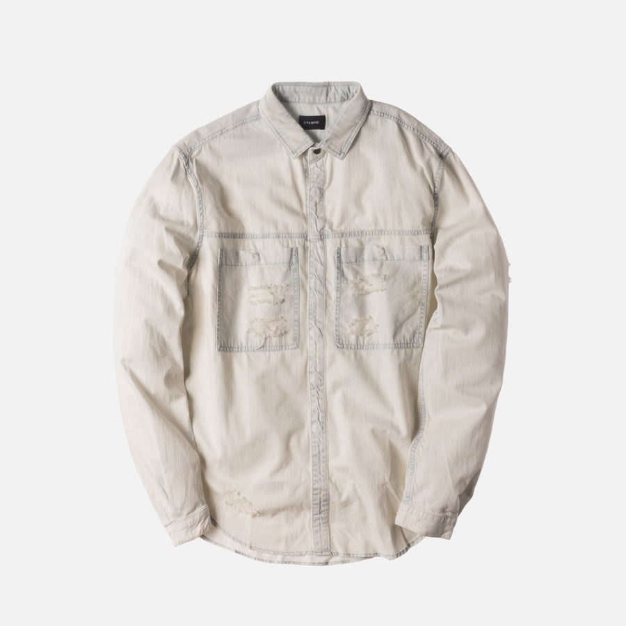 Stampd Distressed Against Denim Button-Up - Cream Bleach