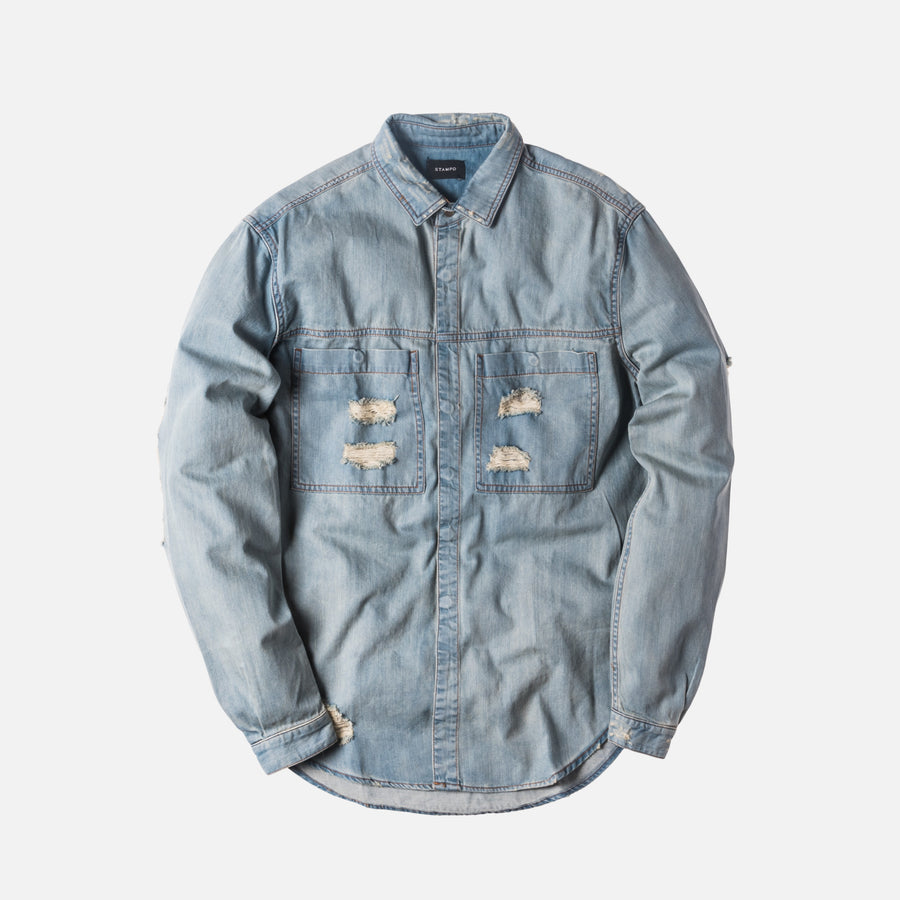 Stampd Distressed Against Denim Shirt - Washed Indigo