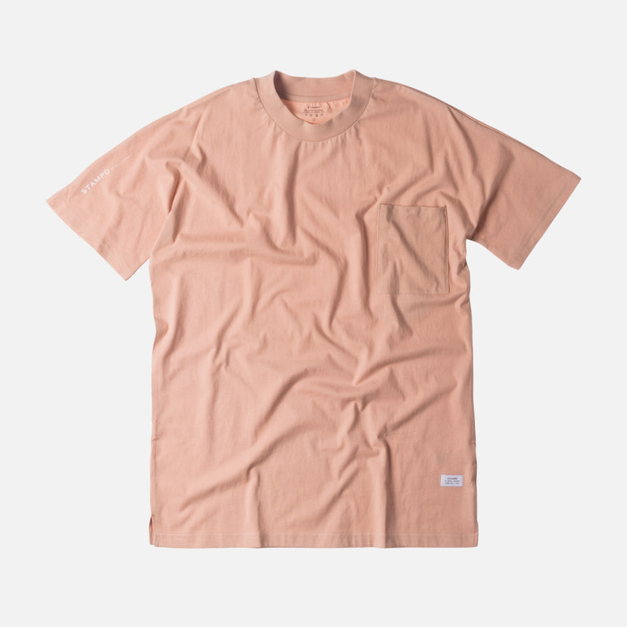Stampd Mock Neck Pocket Tee - Blush