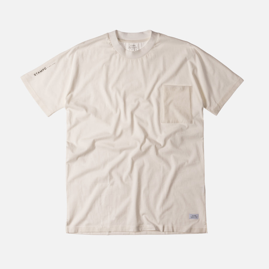 Stampd Mock Neck Pocket Tee - Off White