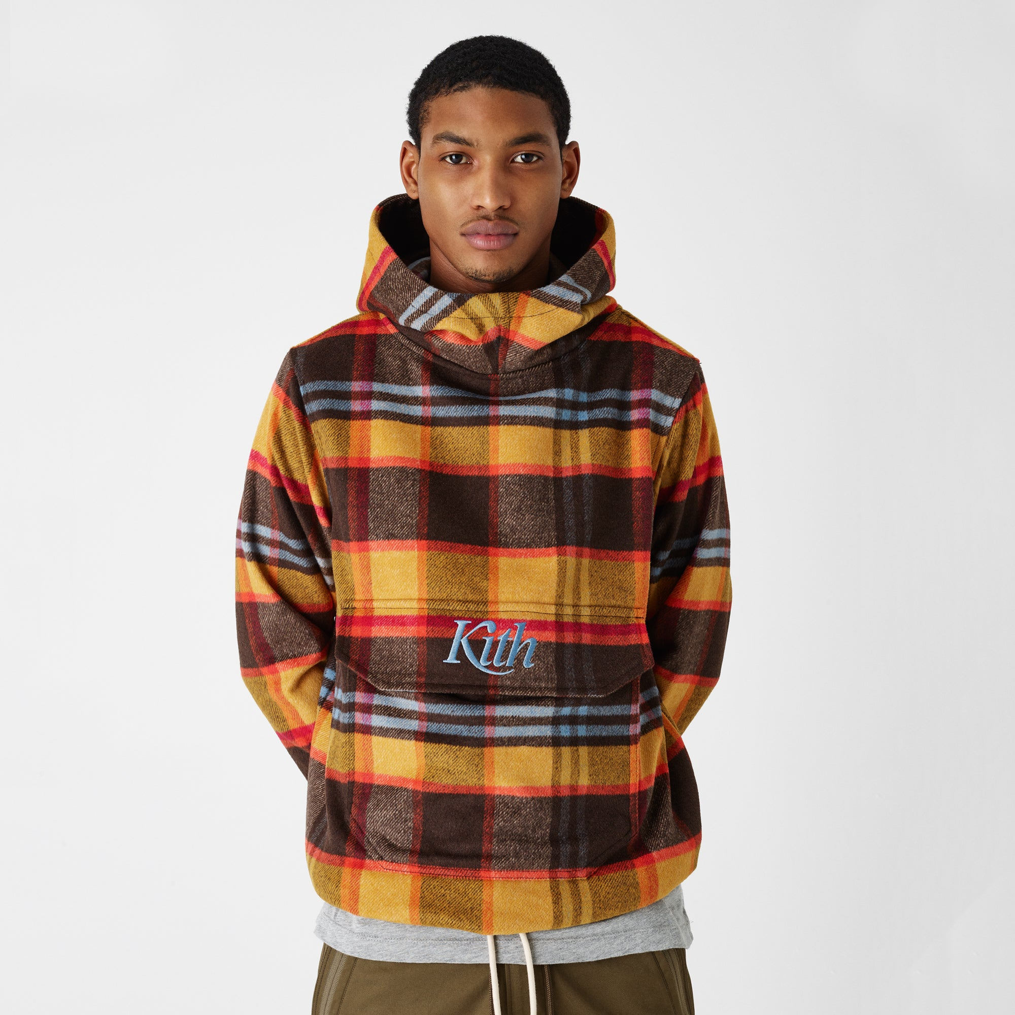 Kith Harrison Plaid Flannel Hooded Pullover - Brown / Yellow