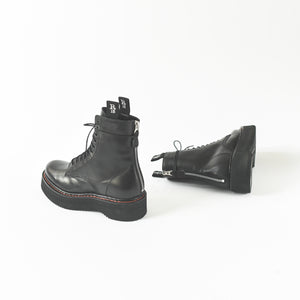 R13 Single Stacked Lace-Up Boot - Black