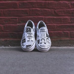 1598a031ae2f68 Vans x Ashley Williams Classic Slip-On - Newspaper   True White
