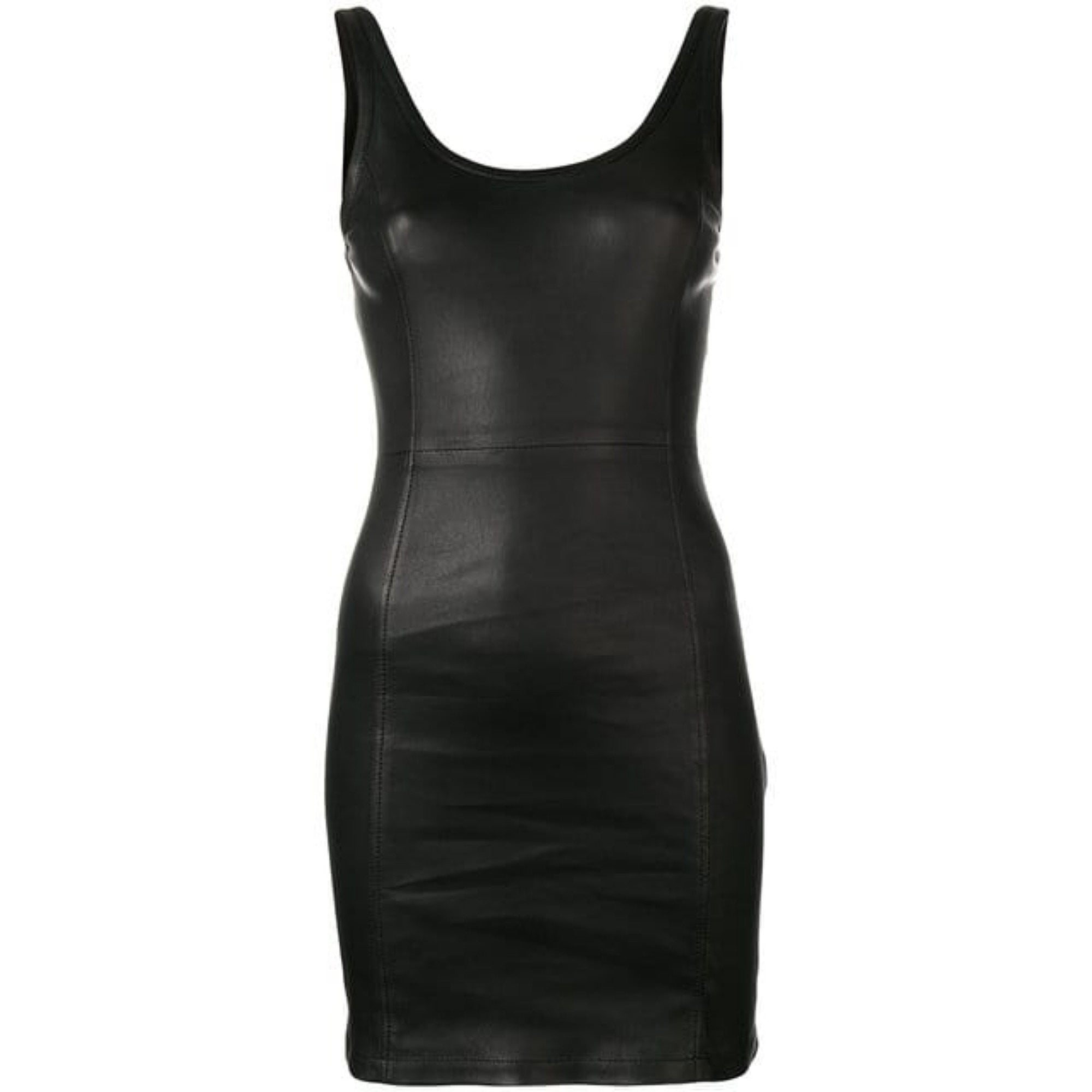 T by Alexander Wang Stretch Leather Fitted Mini Dress - Black